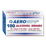 Aerowipe Alcohol Swab 30mm x 30mm 2 ply x 100