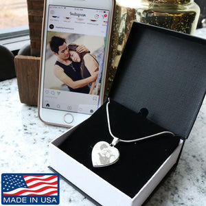 Custom Photo- Etched Heart Necklace