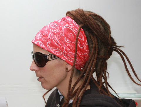 Red Bandana style Dreadlock sock sleepcap Dread protector under helmet,swim cap
