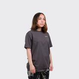 SKEWED Unisex T-shirt 24K on mud grey heavy organic cotton