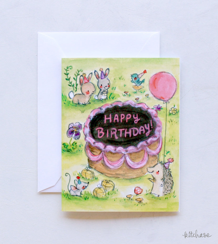 happy birthday-over in the meadow- card