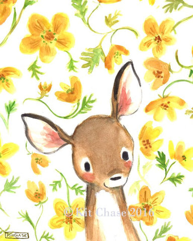 whimsy floral fawn