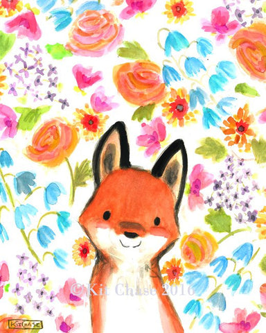 whimsy floral fox