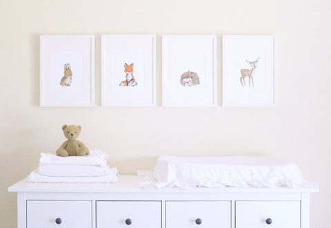 "Woodland Friends -- ""A"" -- Set of 4 Prints"