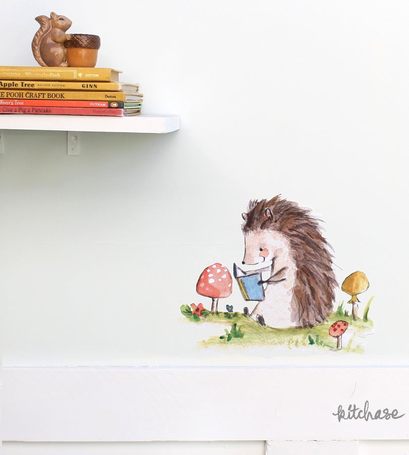 bookish hedgehog decal
