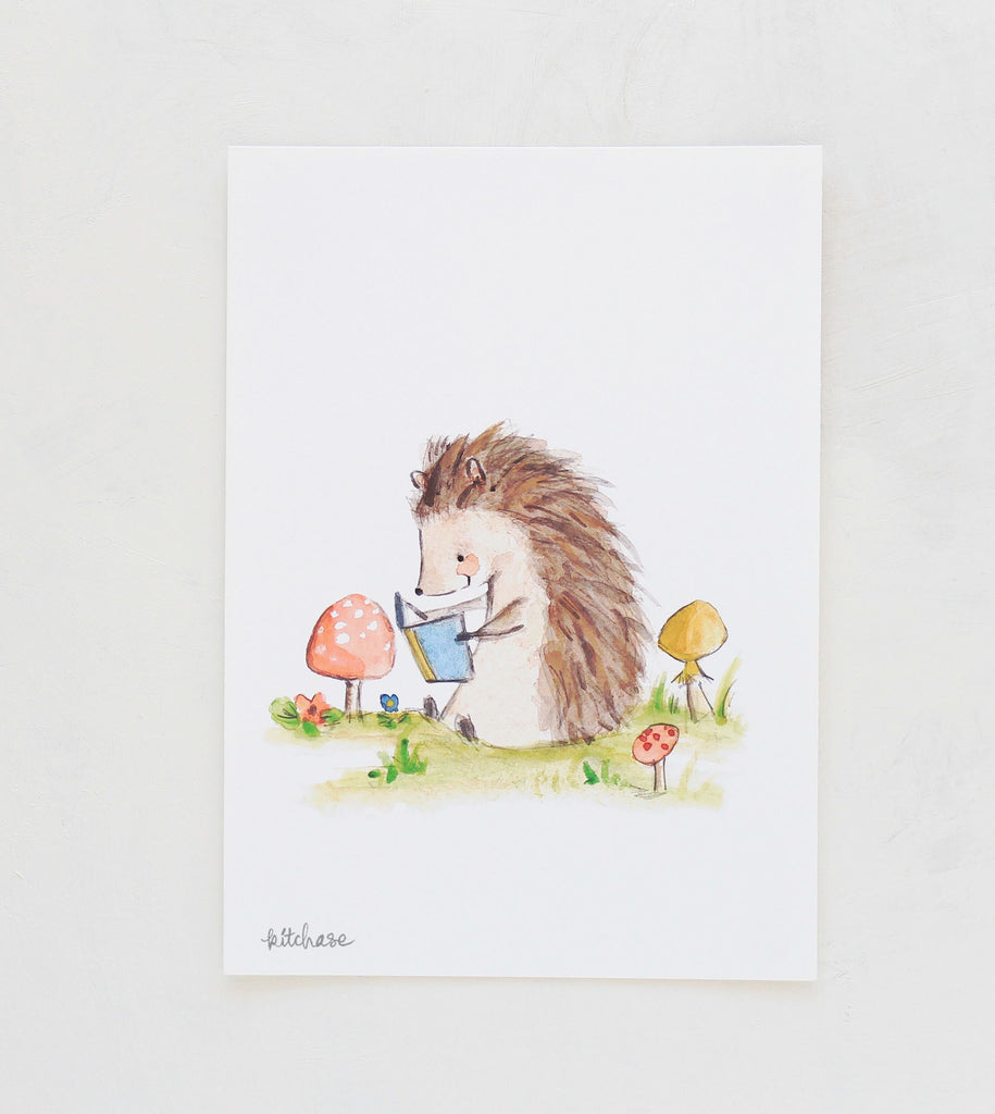 bookish hedgehog giclee