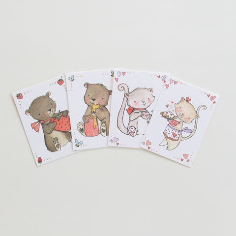 Valentine Cards - bears & kittens