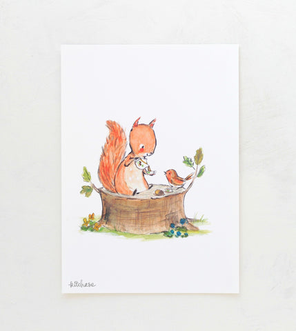 squirrel tea giclee