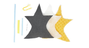 Kit Couture - Doudou Etoile Attache tétine - Coloris Jaune Curry