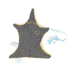 Kit Couture - Doudou Etoile Attache tétine - Jaune Curry - Personnalisable