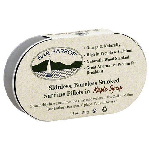 Bar Harbor Skinless Boneless Smoked Sardine Fillets in maple syrup 190g