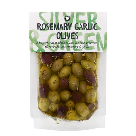 Silver & Green Olives - Rosemary Garlic 220gr