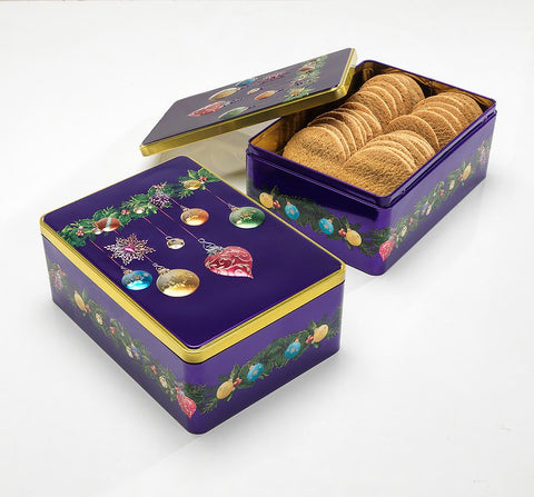 Farmhouse Biscuits - Purple Bauble Tin - Spiced Ginger Biscuits - 400g