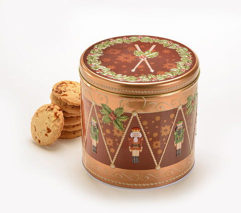 Farmhouse Biscuits - Nutcracker Drum Tin - Salted Caramel Biscuits - 450g