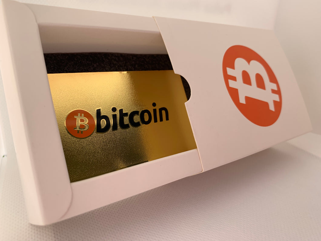 CryptoCurrency Hard Steel Wallet Address Card with Designer Drawer box Bitcoin (BTC)