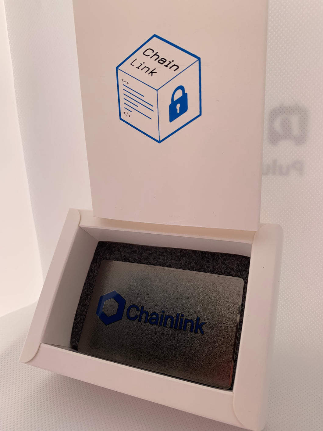 CryptoCurrency Hard Steel Wallet Address Card with Designer Drawer box ChainLink (LINK)