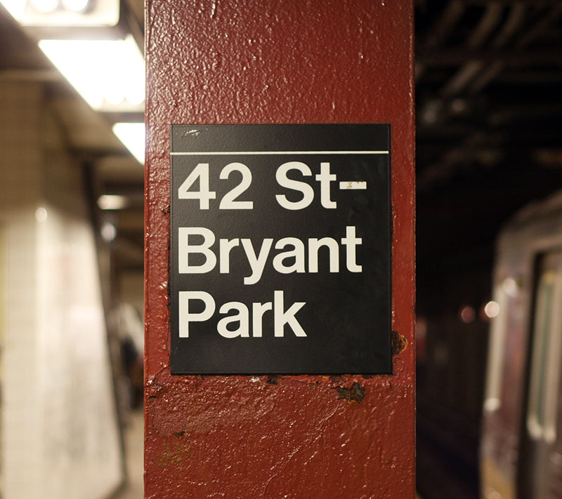 "12"" Square Bryant Park Subway Sign"