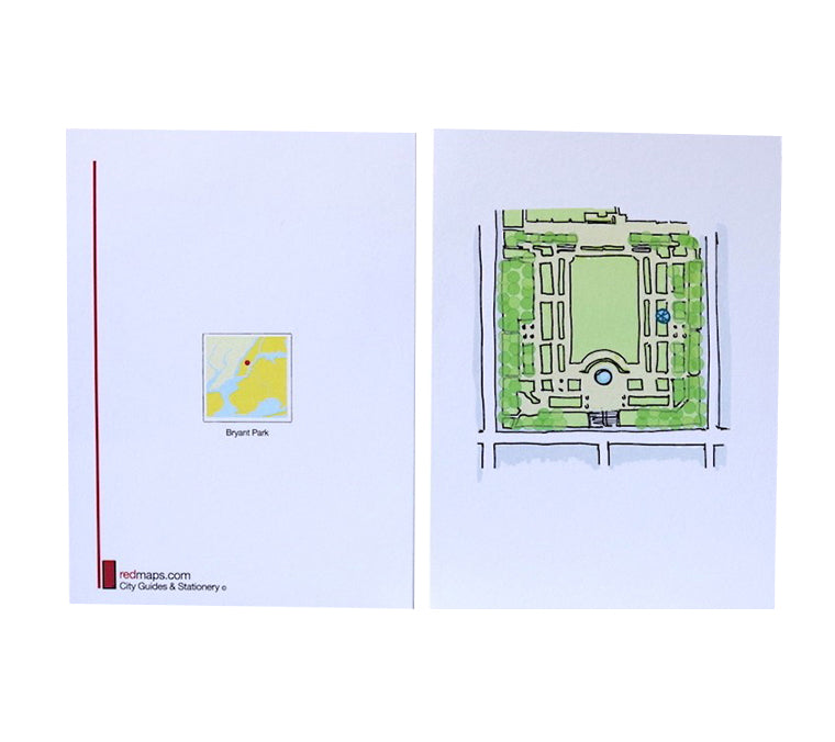 Bryant Park Map Note Card