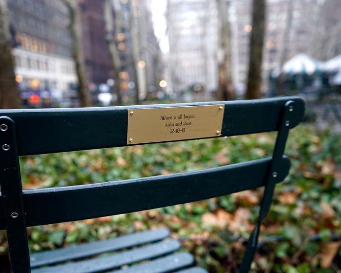 Chair Plaque in Bryant Park