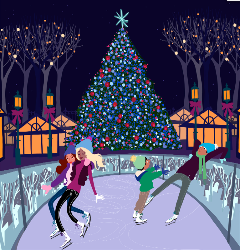 Rink Illustration Holiday Card