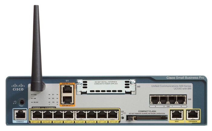 Cisco UC540W-FXO-K9 Unified Communications 540 - VoIP gateway - 0 / 1 - 24 users - 10Mb LAN, 100Mb LAN - 802.11b/g - 1.5U
