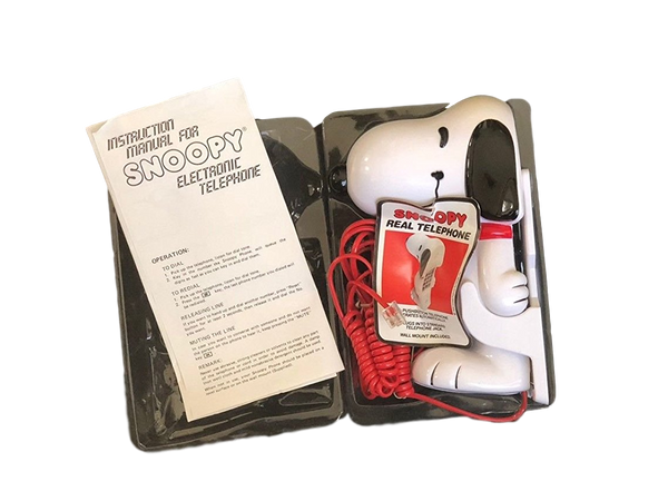 Snoopy Real Telephone: 1985 Vintage Corded Pushbutton Phone