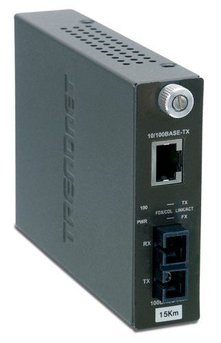 TRENDnet 100Base-TX to 100Base-FX Single Mode SC Fiber Converter (15 Km, 9.3 Miles) TFC-110S15 (Black)