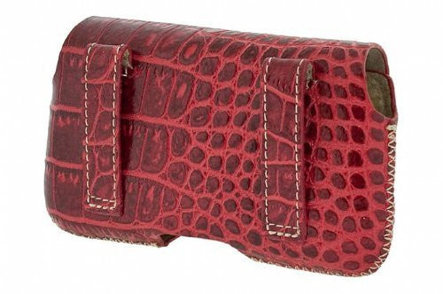 Krusell 95495 Hector Croco Large Premium Leather Case with Beltloops for iPhone 4 / 4S and other SmartPhones with up to 3.7-inch Screen - Red