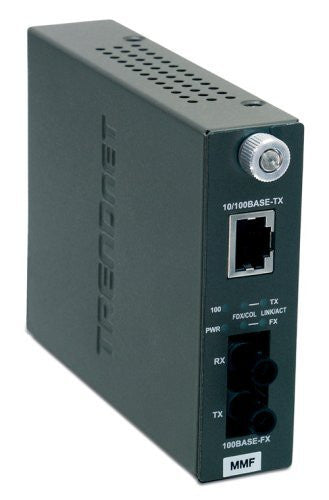 TRENDnet 100Base-TX to 100Base-FX Multi Mode ST Fiber Converter (2 Km, 1.2 Miles) TFC-110MST (Black)