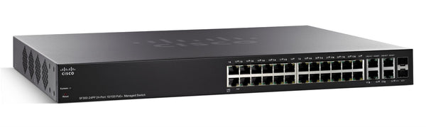 Cisco SF300-24PP Managed L3 switch with 24 10/100 PoE+ Ports and 2x 10/100/1000 Gigabit SFP