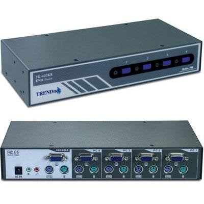 TRENDnet TK-403KR TK 403KR - KVM / audio switch - PS/2 - 4 x KVM / audio - 1 local user - rack-mountable