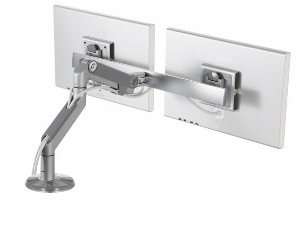 M8 Humanscale Monitor Arm Cross Bar, Dual Monitor Arm, Clamp Mount, Silver w/ Grey Trim