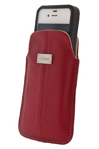 Krusell Luna XL Premium Leather Pocket Pouch for iPhone 4 / 4S (fits with Case, Cover or Bumper) and Other SmartPhones with 3.7 / 4.3 inch Screen  - Red
