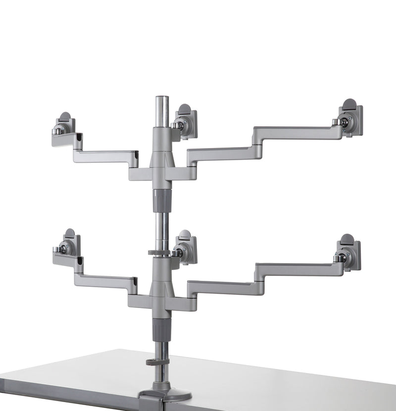 Humanscale M/Flex Dual Monitor Arm, Silver with Gray Trim, Clamp Mount