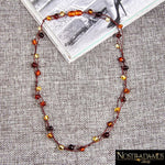 Collier en Perles dAmbre Multicolores - Colliers