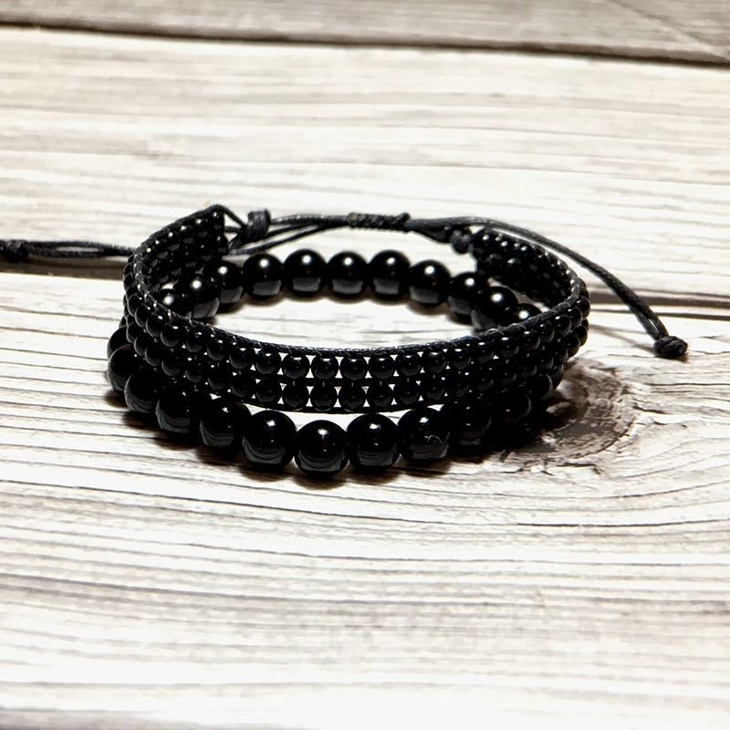 Double Bracelet 'Purification Vibratoire' en Obsidienne