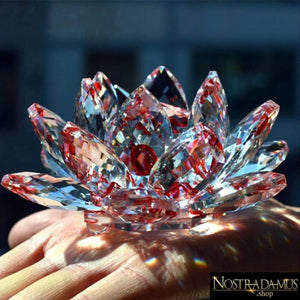 Fleur de Lotus en Cristal - 8 couleurs disponibles - Rouge - Figurines et Miniatures