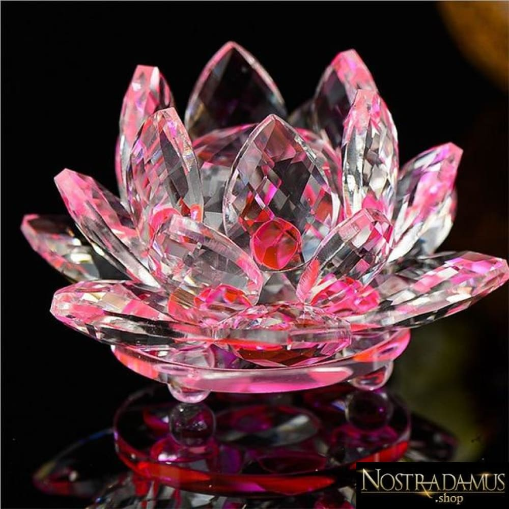 Fleur de Lotus en Cristal - 8 couleurs disponibles - Rose - Figurines et Miniatures