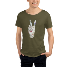 Load image into Gallery viewer, Peace military inspired Raw Neck Tee