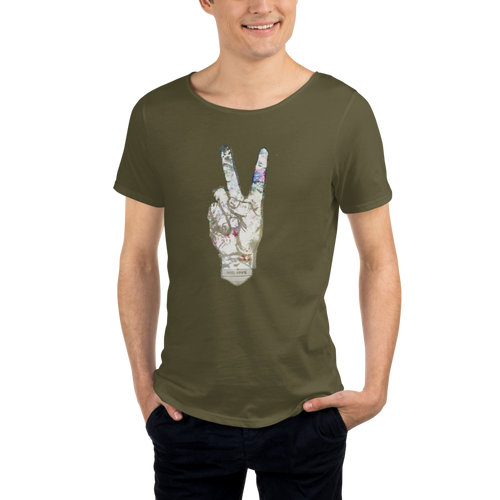 Peace military inspired Raw Neck Tee