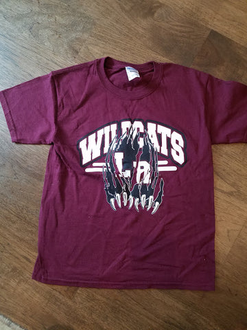 Gildan Maroon wildcats cotton T claw logo-YS only