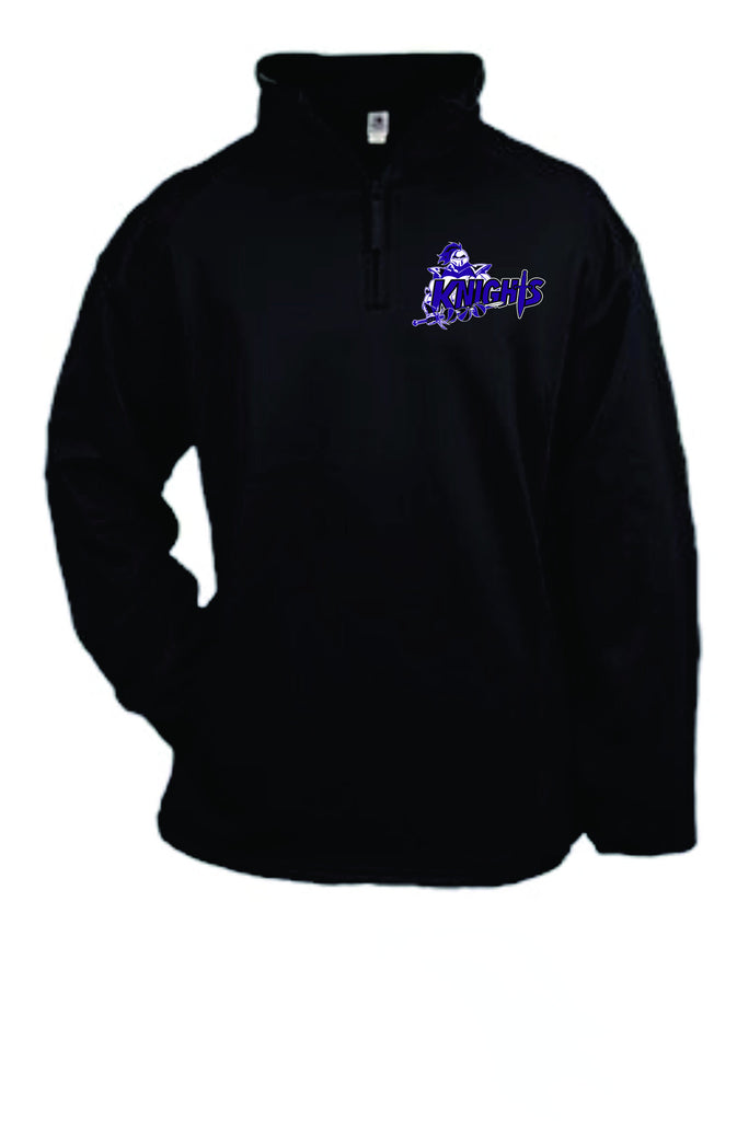 Black Quarter zip pullover Embroidery logo-KNIGHTS BOYS