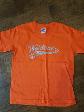 Gildan orange cotton T with silver glitter wildcats tail logo Youth XS