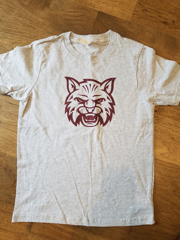 Next level grey cotton T w/ maroon glitter wildcat head YM(8)