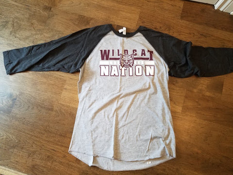 Wildcat nation 3/4 sleeve T with screen print logo-Large