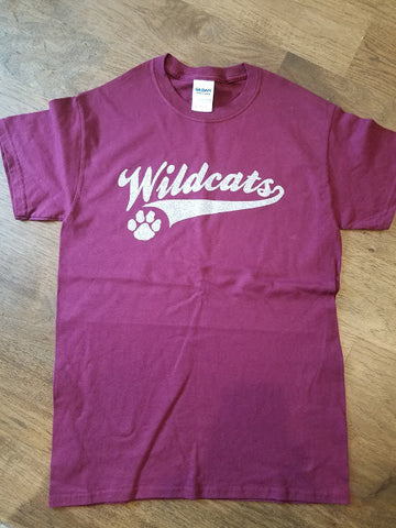 Gildan maroon cotton T with wildcats glitter logo with tail -YS and adult Small