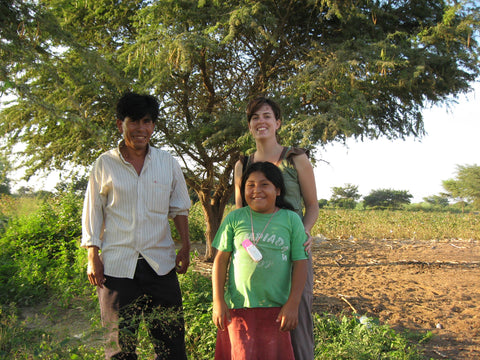 Silvania Georgia Kirkpatrick at Lino's organic cotton farm with his son and granddaughter