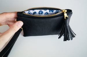 Wristlet Mini Purse - Black Cork