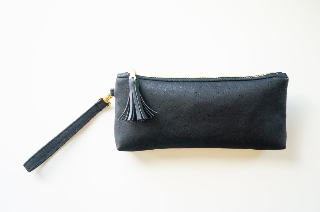 Wristlet Travel Purse - Black Cork