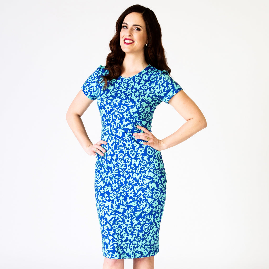 Bodycon Dress - Pasto Print Blue and Light Green